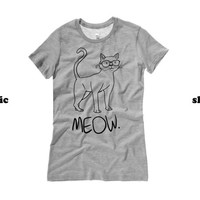 Cat Womens Shirt | Meow Women's Tshirt | Cute Kitty with Glasses