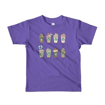 Short sleeve kids Starbucks Frappuccino coffee t-shirt Girls Size Princess Frappuccino
