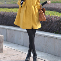 Women Yellow cape Fitted Coat jacket Wool Cape coat winter coat