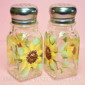 Hand Painted Salt & Pepper Shakers - Sunflowers - Original Designs by Cathy Kraemer