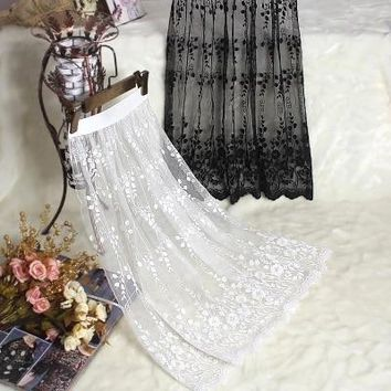 Spring and lace transparent half slip single layer gauze medium long underskirt female all match petticoat