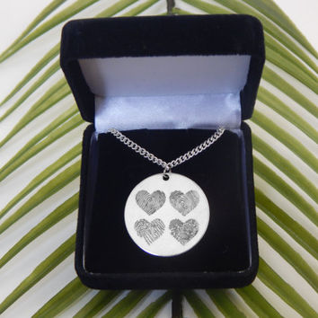 Custom Personalized Four Fingerprints Hearts Pendant Necklace