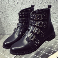 Fashion Personality Rivet Zip Leather Short Boots Women Shoes