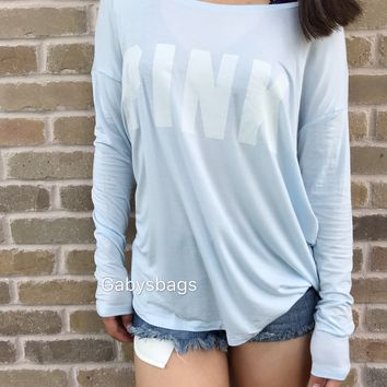 NWT Victoria's Secret Pink T shirt Long Sleeve Logo Soft L Large Blue