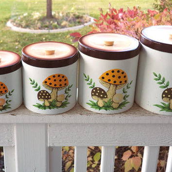1979 Mushroom Canister Set | Melamine Nesting Kitchen Canisters | Orange, Brown, Yellow Retro 1970s Kitchen