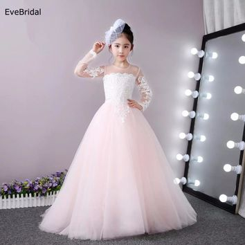 Tulle Full Sleeve Lace Flower Girl Dresses for Wedding First Communion Dresses Wedding Party Dress Runway Show Pageant Danceway