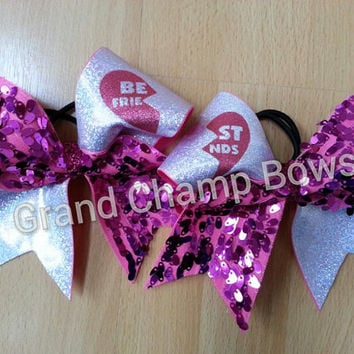 BFF Best Friends Matching Cheer Cheerleader Hair Bows Hairbows with Sequins