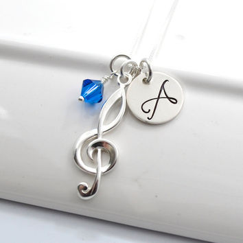 Personalized Initial Necklace with Treble Clef and Swarovski Bead- Sterling Silver- Hand-Stamped Music Jewelry