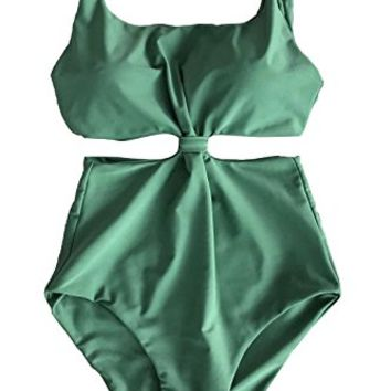 Cupshe Fashion Women's Double-Layered Padding One-Piece Swimsuit,Green
