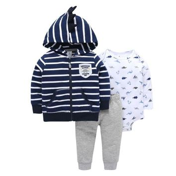 New Striped infant boy girl clothing sets kids baby bebes sweatshirt clothes 3pcs children clothing baby romper suits hoodies