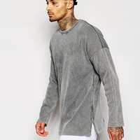 ASOS Longline Oversized Heavy Rib Sweatshirt With Zips & Acid Wash