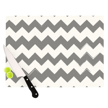 "KESS Original ""Candy Cane Gray"" Chevron Cutting Board"