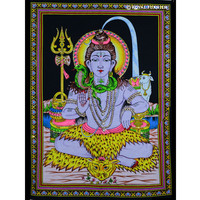 Hindu Lord Shiva Sequin Cotton Fabric Cloth Poster Tapestry on RoyalFurnish.com