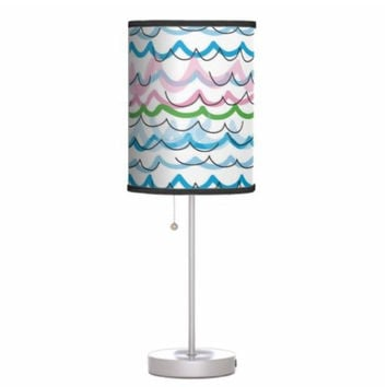 Lamp shade childrens pendant lamp shade or table lamp stand, colorful striped abstract decor, surface pattern design hanging light shade