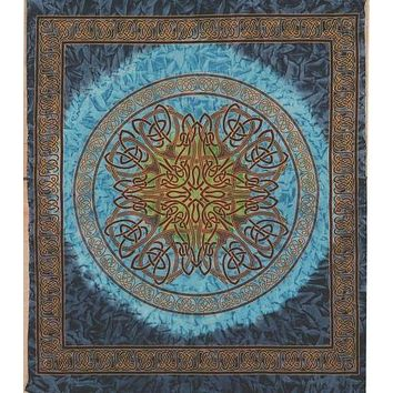 Handmade 100% Cotton Celtic Circle Tie Dye Wheel Of Life Batik Tapestry Spread Queen Blue