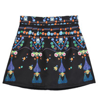 Black Jewel Printed Skirt