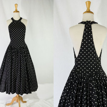 Vintage 1980's Black and White Polka-dot Halter Sun Dress 50's Style Kamisato