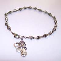 Anklet, Silvertone Decorative Chain Anklet with 3 Charms, Gift Idea 9 inche Anklet Antiqued Silver