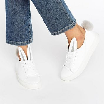 Minna Parikka Tail Sneaks White Leather Trainers at asos.com