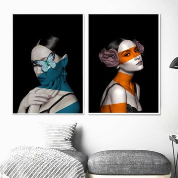 Colorful Flower Butterfly Girl Nordic Poster Wall Art Canvas Painting Posters And Prints Salon Wall Pictures For Living Room Bar