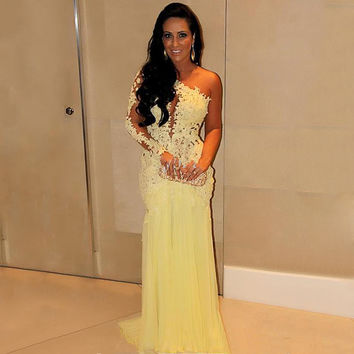 Yellow One shoulder Long Sleeve Lace Appliques Long Prom Dresses Tulle Trumpet Sexy See Through Back Arabic Women Evening Dress