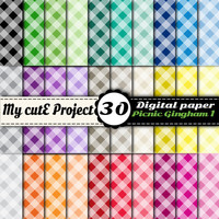 Gingham Picnic 1 - Instant Download - DIGITAL PAPER - A4 & 12x12 inches