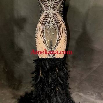 Cindy Feather Diamante Evening Dress