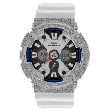 G-Shock Watch GA120TR-7A Custom Bezel Ana-Dig White Silicone Rubber Strap Mens