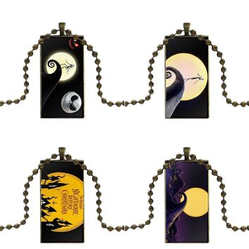 For Women Men Party Tim Burton Nightmare Before Christmas Glass Cabochon Choker Pendant Rectangle Necklace Bronze Color Jewelry