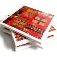 Ceramic Tile Coasters Set of Four Felt Backing Christmas Red