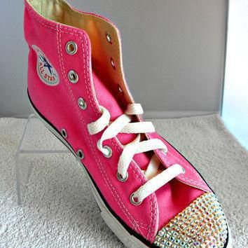 glass slippers swarovski crystal pink chuck taylor converse high top all star girls yo