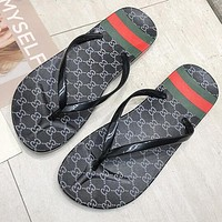 GUCCI Summer Trending Women Casual Stripe Flat Sandal Slipper Shoes Flip-Flops Black