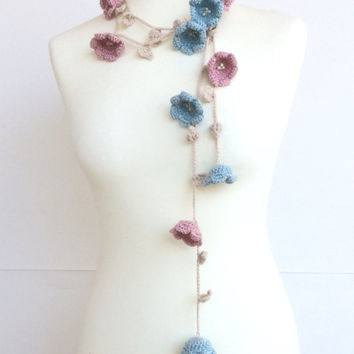Crochet Necklace, Flower Wrap Scarf, Pastel Skinny Scarf, Beaded Long Lariat, Boho Wrap Scarf, Lily Flower Necklace, Women's Gift, ReddApple