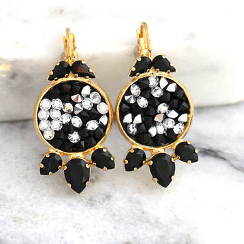 Black Earrings, Black Drop Earrings, Black White Earrings, Christmas Gift, Swarovski Black Earrings, Black Gold Earrings, Gift For Her