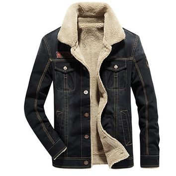 Mens Winter Denim Jean Jacket in Black