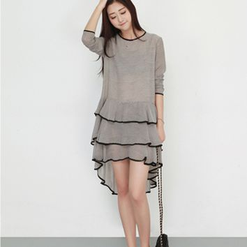 Black Collar Striped Long Sleeve Lace Dress