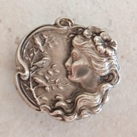 Art Nouveau Watch Pin Fob Brooch Woman Profile Sterling Silver C Clasp Vintage