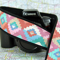 Pastel Tribal dSLR Camera Strap, Southwestern, Nikon or Canon Camera Strap, Pocket, Terracotta, Turquoise, Rose Pink, Blue, SLR,168 ww