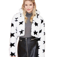 White Star Print Faux Fur Cropped Sweater
