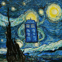 Tardis Dr. Who Starry Night Art Print by Neutrone