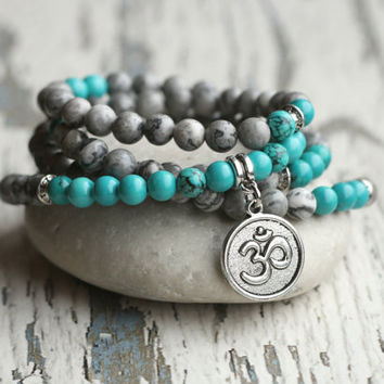 mala beads 108 bracelet mala necklace charms om turquoise and grey mens gift yoga meditation necklace mantra jewelry prayer zen women gift