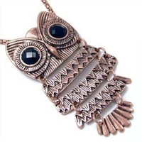 Unique ZAD X-Large Rose Gold/Bronze Tone Owl with Black Eyes on Long 30 Chain: Jewelry: Amazon.com