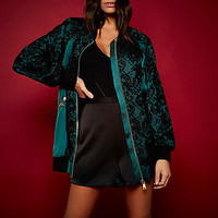 RI Studio green satin lace oversized bomber - bomber jackets - coats / jackets - women