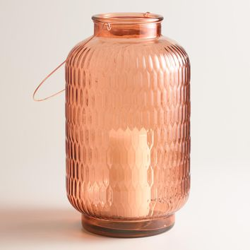 Large Copper Textured Glass Aria Lantern