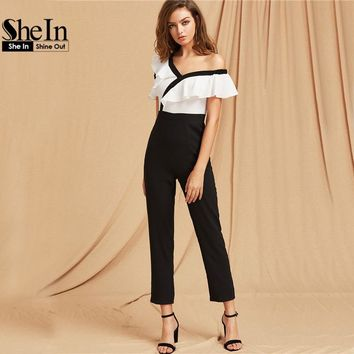 SheIn Summer Jumpsuit 2017 Black and White Color Block Sexy Elegant Two Tone Flounce Asymmetric Shoulder Tailored Jumpsuit