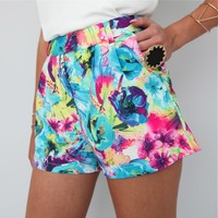 FESTIVAL WATERCOLOUR BLUE FLORAL HIGH WAISTED PLEATED SHORTS 6 8 10 12