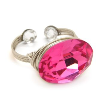 Candy Gem Ring in Silver-filled: Rose Swarovski® Crystal