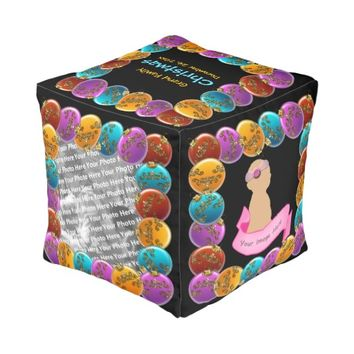 Colorful Glass Christmas Balls Photo Cube Pouf
