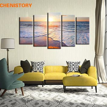 Unframed 5 Panels Beach Wave Sunset Seascape Home Wall Decor Modern Canvas Print Painting For Living Room Decoration Artwork