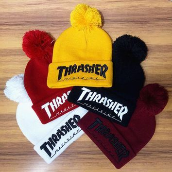 DCCKJ1A Winter Unisex Fluffy Thrasher Embroidery Knit Beanies Hat F